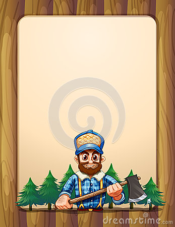 An empty wooden frame border with a lumberjack in front of the p