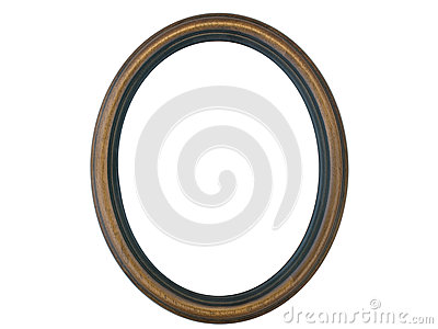 Empty Wooden Oval Frame