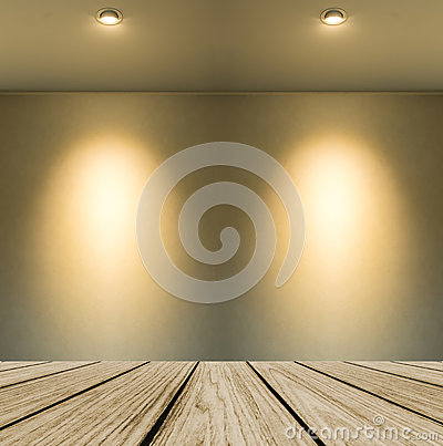 Free Empty Wooden Perspective Platform With Lamp Shade From Small Lamp On Abstract White Wall Background With Copy Space Royalty Free Stock Photography - 65179377