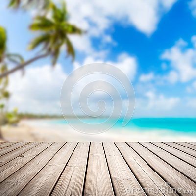 Free Empty Wooden Pier Over Blurred Tropical Beach Royalty Free Stock Photography - 59249157