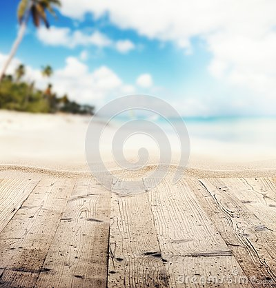 Free Empty Wooden Pier With View On Sandy Beach Stock Image - 54026941