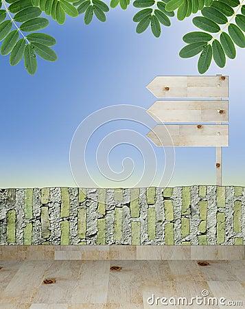 Empty wooden signboard