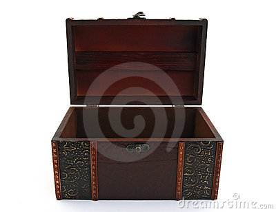 Empty wooden treasure chest