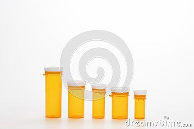 Empty Yellow Medicine Bottles. Isoated