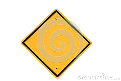 Empty yellow road sign