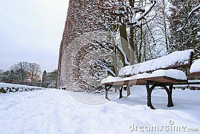Χιονώδες τοπίο πάρκων με το empy πάγκο