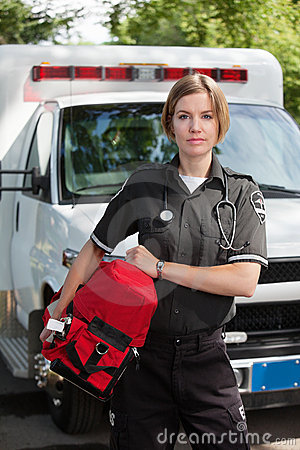 EMS Professional Woman with Oxygen Unit