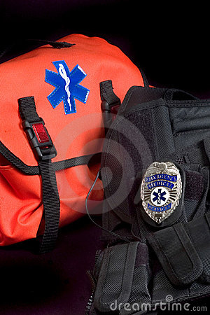 Free EMT Medical Bag, Tactical Vest And Badge Stock Image - 552231