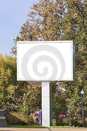 Emty big LED display in autumn city park