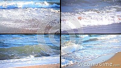 4 en 1 Arena vacía e incidente en una onda, visión superior del fondo almacen de video