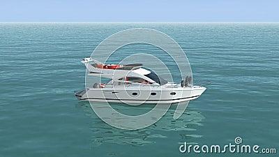 En bästa sikt av ett fartyg i det blåa havet vektor illustrationer