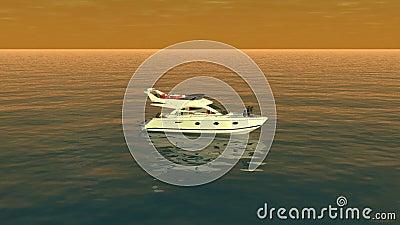 En bästa sikt av ett fartyg i det orange havet royaltyfri illustrationer