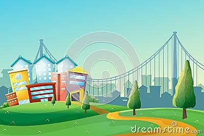 En bana som går till de färgrika byggnaderna i staden