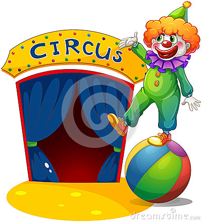 En clown upptill av en boll som framlägger cirkushuset