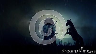 En dator frambragd episk indiankrigare och en häst under en storm