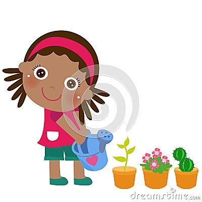 En gullig liten flicka som bevattnar blomman