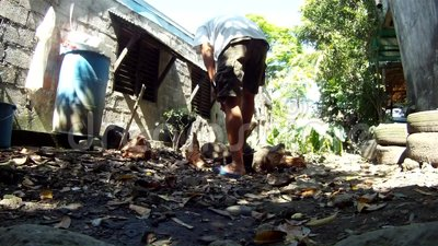 En man hugger av trä manuellt med en yxa lager videofilmer