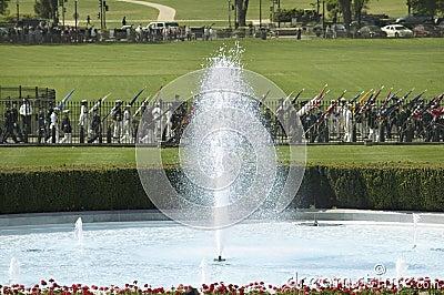 En närbild av den södra springbrunnen för Vita hus Redaktionell Arkivbild