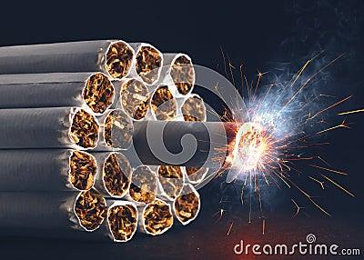 Cigaretten bombarderar