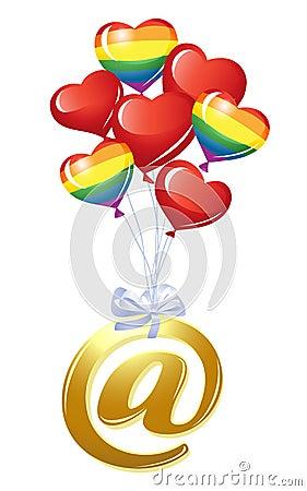 En-símbolo con el manojo de globos del corazón