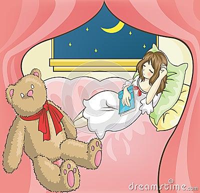 En sova stundläsning för flicka bokar i henne rum