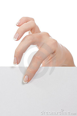 En una mano una hoja en blanco de papel