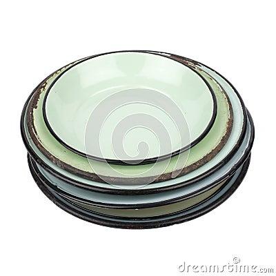 Enamel Plates and Bowl Cutout