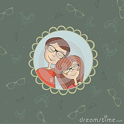 Enamoured couple of boy and girl in eyeglasses