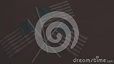 Encender la luz iluminando las banderas de Estados Unidos Abrir el concepto América otra vez almacen de metraje de vídeo