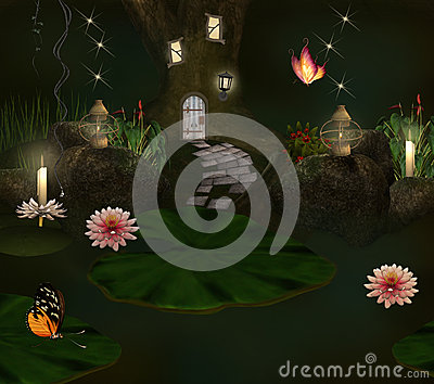 Enchanted pond and elf house
