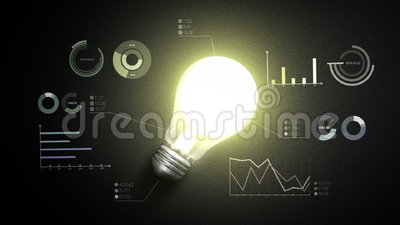 Encienda la luz de bulbo, y las diversos cartas y gráficos económicos, concepto de la idea