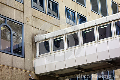 Enclosed Walkway Between Office Buildings Stock Photo