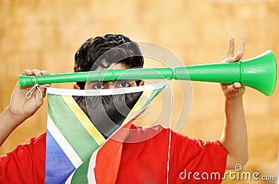 Encourager with vuvuzela