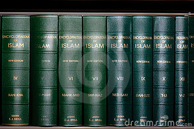 Encyclopedia of Islam Books in Bookshelf Editorial Stock Photo