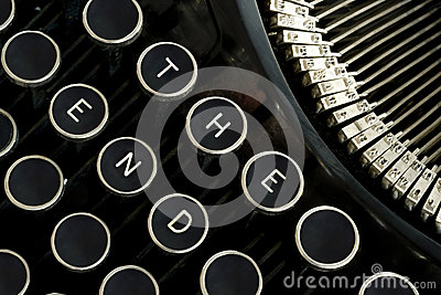 The End Spelled on Vintage Typewriter Keys