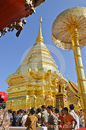 End of Buddhist Lent Day, Phra That Doi Suthep, Chiang Mai, Thai Editorial Image