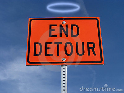 End detour traffic sign.