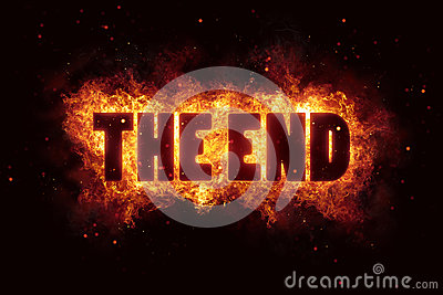 The end film fire burn flame text is explode