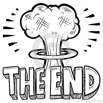 The End Mushroom Cloud Sketch Royalty Free Stock Image - Image ...