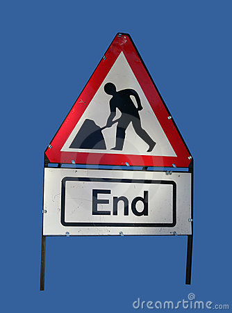End of roadworks sign