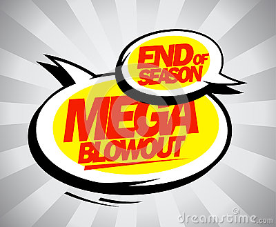 End of season mega blowout balloons pop-art style.