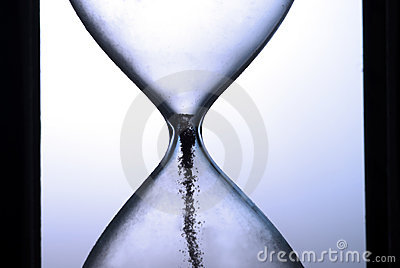 End of times on hourglass closeup