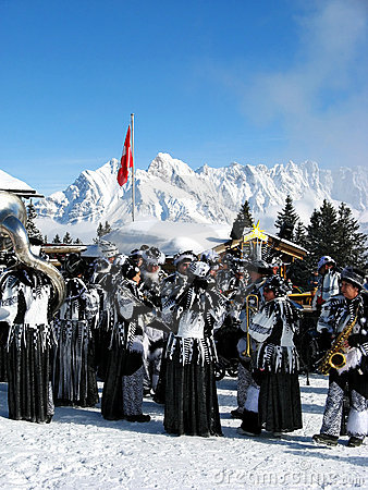 End-of-Winter Carnival (Fastnacht) in Flumserberg Editorial Photo