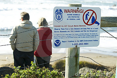 Endangered Elephant Seal sign Editorial Photography