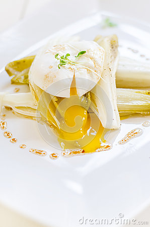 Endives and poached egg