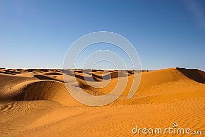 Endless desert under fair sky