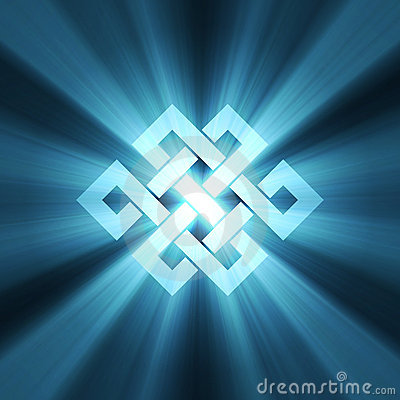 Endless knot blue light flare