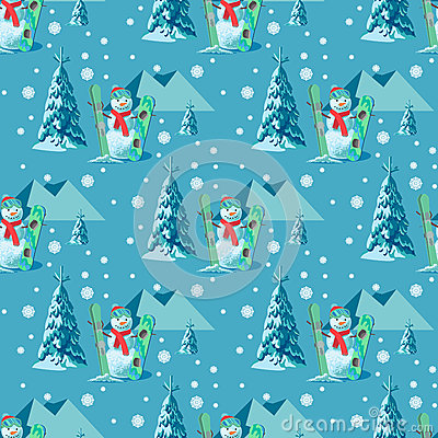 Free Endless Pattern Christmas Theme. Vector Seamless Illustration Of A Snowman, Ski Snowboard Outfit With Snow Covered Trees Royalty Free Stock Photo - 82565935