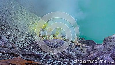 Endroit de Kawah Ijen Volcano Crater Landmark Nature Travel de laps de temps de l'Indonésie 4K clips vidéos