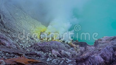 Endroit de Kawah Ijen Volcano Crater Landmark Nature Travel de laps de temps de l'Indonésie 4K banque de vidéos